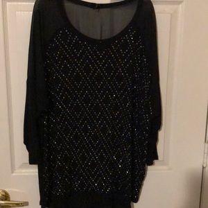 Black cotton blouse w silver. Never worn.